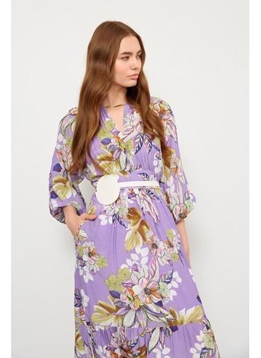 Setre Lila Floral Desen Midi Kemerli Elbise Lila